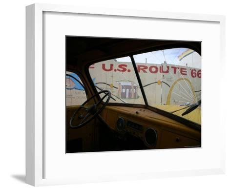 Meteor City's Fence Map of Old Route 66 Framed by a Truck Windshield-Stephen St^ John-Framed Art Print