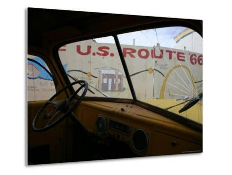 Meteor City's Fence Map of Old Route 66 Framed by a Truck Windshield-Stephen St^ John-Metal Print