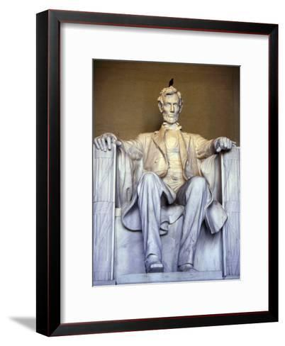 Bird Perches on Abraham Lincoln's Statue Inside the Lincoln Memorial-Rex Stucky-Framed Art Print