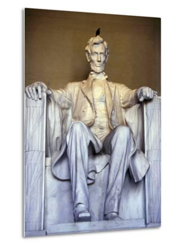 Bird Perches on Abraham Lincoln's Statue Inside the Lincoln Memorial-Rex Stucky-Metal Print