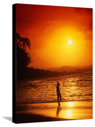 Ke'e Beach at Sunset-Linda Ching-Stretched Canvas Print