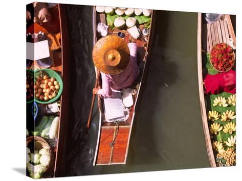 Overhead of Boats at Floating Market, Damnoen Sadoak-Karl Blackwell-Stretched Canvas Print