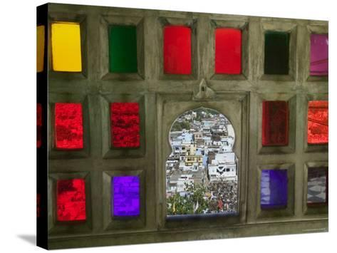 Stained Glass Window Panes in City Palace-Keren Su-Stretched Canvas Print