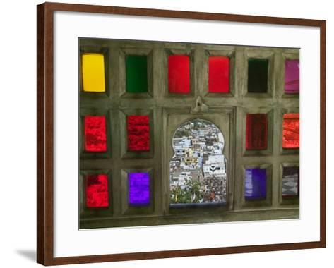 Stained Glass Window Panes in City Palace-Keren Su-Framed Art Print