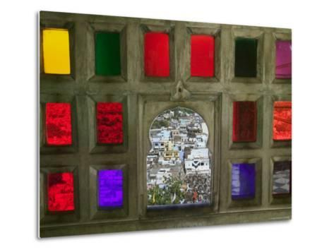 Stained Glass Window Panes in City Palace-Keren Su-Metal Print