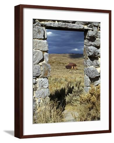 1880's Deserted Home Through Stone Warehouse Door Frame, Bodie State Historic Park-Emily Riddell-Framed Art Print