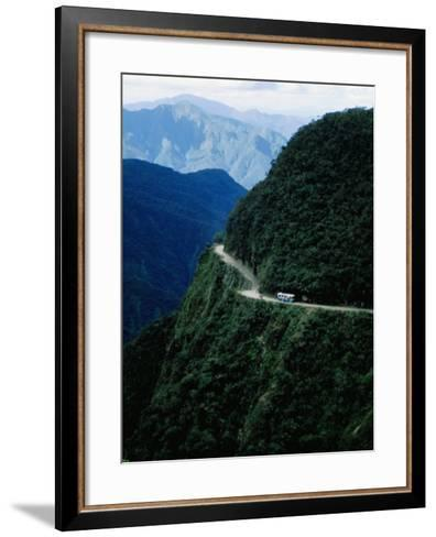 Bus Travelling the World's Most Dangerous Road-Craig Pershouse-Framed Art Print