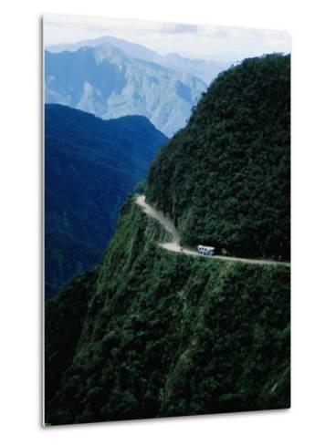 Bus Travelling the World's Most Dangerous Road-Craig Pershouse-Metal Print