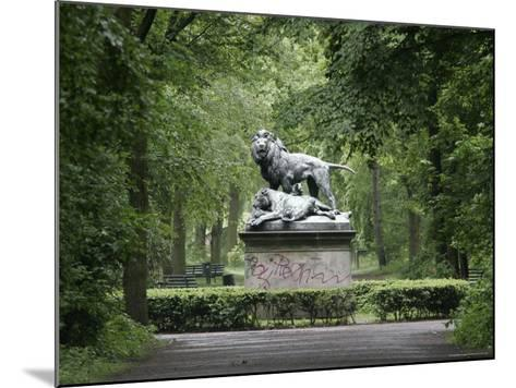 Lion Statue in Tiergarten-David Borland-Mounted Photographic Print