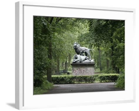 Lion Statue in Tiergarten-David Borland-Framed Art Print