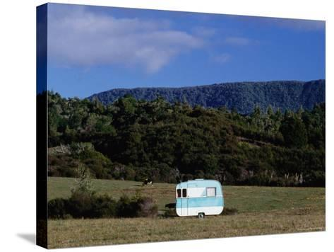 Caravan and a Cow in Field, Near Waima-Holger Leue-Stretched Canvas Print