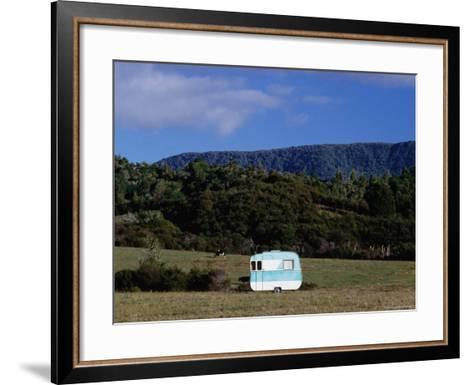 Caravan and a Cow in Field, Near Waima-Holger Leue-Framed Art Print