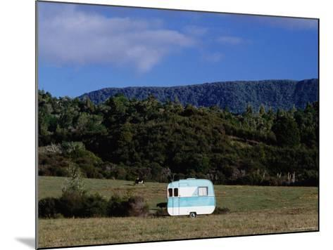 Caravan and a Cow in Field, Near Waima-Holger Leue-Mounted Photographic Print