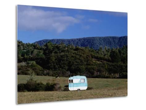 Caravan and a Cow in Field, Near Waima-Holger Leue-Metal Print