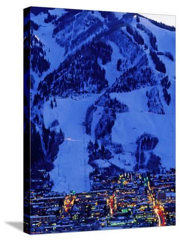 Town Illuminated at Dusk with Aspen Mountain Towering Above-Diego Lezama-Stretched Canvas Print