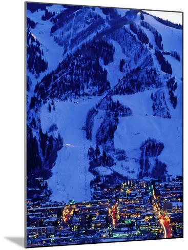 Town Illuminated at Dusk with Aspen Mountain Towering Above-Diego Lezama-Mounted Photographic Print