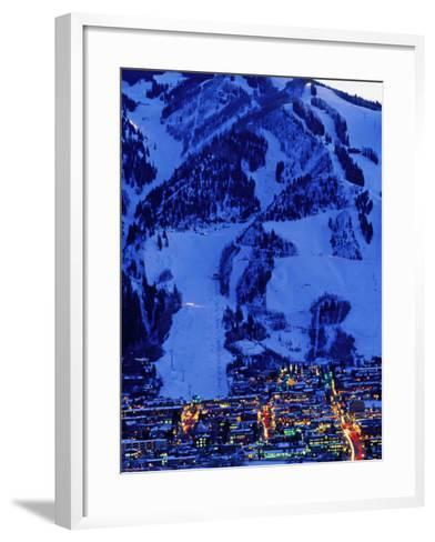 Town Illuminated at Dusk with Aspen Mountain Towering Above-Diego Lezama-Framed Art Print