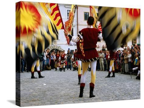 Italian Men Wearing Renaissance Dress with Banner During Gold Trail Festival-Richard Nebesky-Stretched Canvas Print