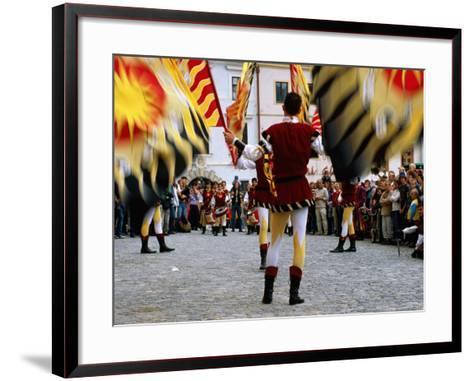 Italian Men Wearing Renaissance Dress with Banner During Gold Trail Festival-Richard Nebesky-Framed Art Print