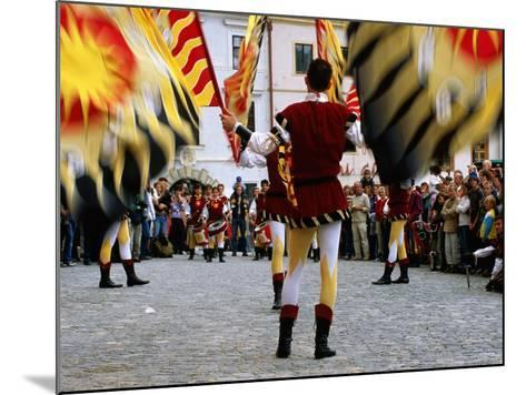 Italian Men Wearing Renaissance Dress with Banner During Gold Trail Festival-Richard Nebesky-Mounted Photographic Print