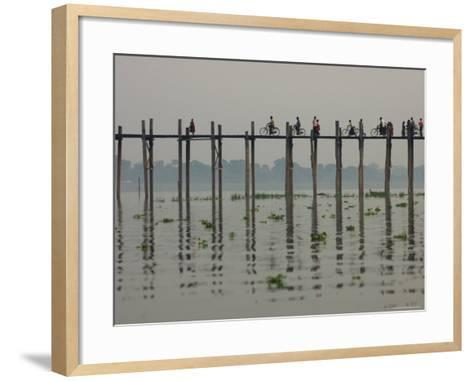 People Ride their Bicycles Along U Bein's Bridge That Runs Down the Taungthaman Lake-David Greedy-Framed Art Print