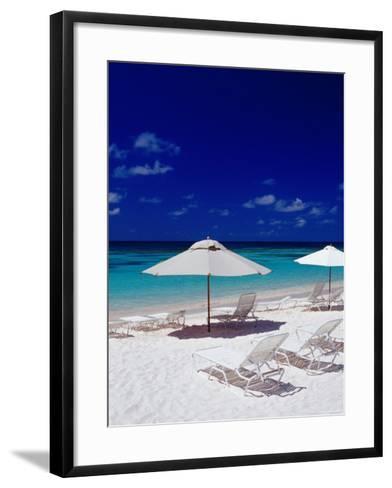 Beach Chairs and Umbrellas on Long Bay Beach-Richard I'Anson-Framed Art Print