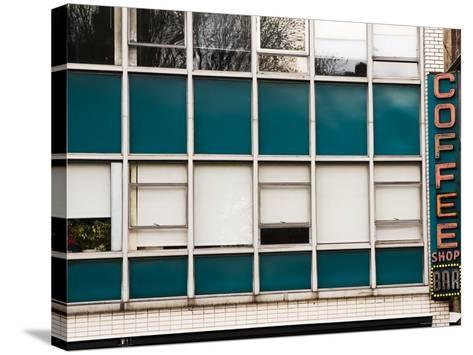 Detail of Coffee Shop Windows and Sign-Michelle Bennett-Stretched Canvas Print