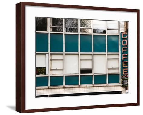 Detail of Coffee Shop Windows and Sign-Michelle Bennett-Framed Art Print