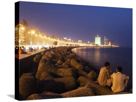 People Relax at the End of Day Along Marine Drive-Orien Harvey-Stretched Canvas Print