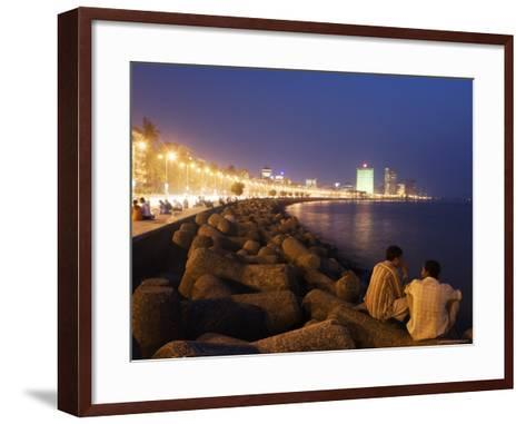 People Relax at the End of Day Along Marine Drive-Orien Harvey-Framed Art Print