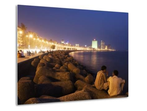 People Relax at the End of Day Along Marine Drive-Orien Harvey-Metal Print