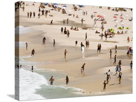People Enjoying the Beach and Surf at Ipanema Beach-Tim Hughes-Stretched Canvas Print