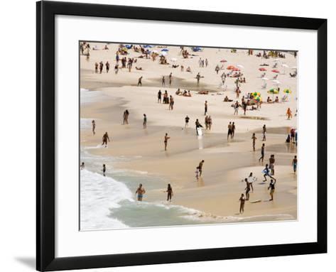 People Enjoying the Beach and Surf at Ipanema Beach-Tim Hughes-Framed Art Print