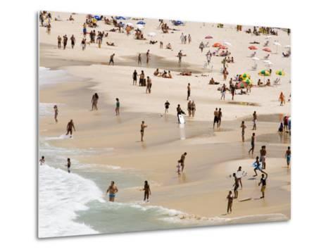 People Enjoying the Beach and Surf at Ipanema Beach-Tim Hughes-Metal Print
