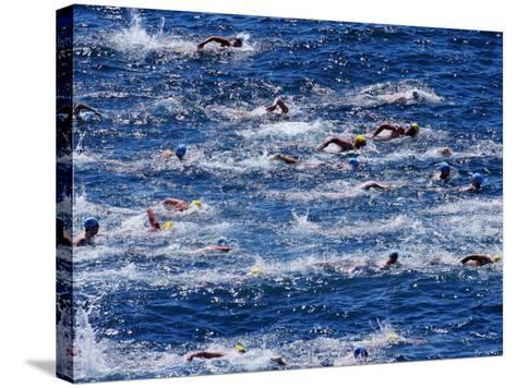 Bondi to Bronte 3Km Ocean Swim-Oliver Strewe-Stretched Canvas Print