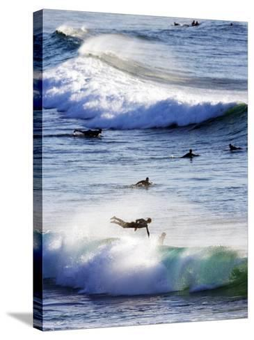 Surfing at Southern End of Bondi Beach-Oliver Strewe-Stretched Canvas Print