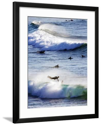 Surfing at Southern End of Bondi Beach-Oliver Strewe-Framed Art Print