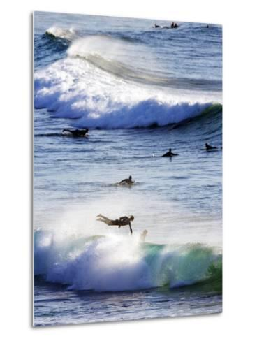 Surfing at Southern End of Bondi Beach-Oliver Strewe-Metal Print