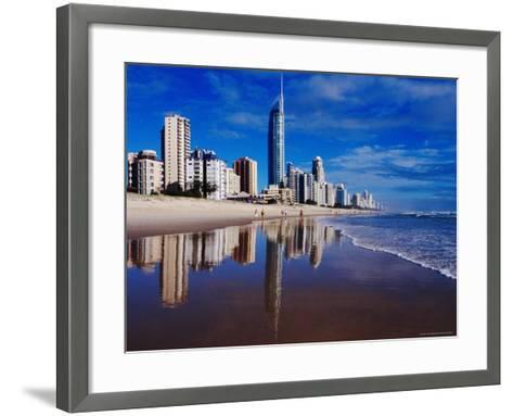 Hi-Rise Apartment Buildings and Surfers Paradise Beach-Richard I'Anson-Framed Art Print
