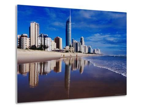 Hi-Rise Apartment Buildings and Surfers Paradise Beach-Richard I'Anson-Metal Print
