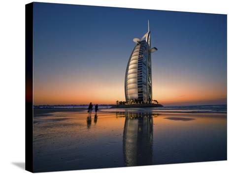 Burj Al Arab Hotel Reflected on Beach at Sunset-Merten Snijders-Stretched Canvas Print