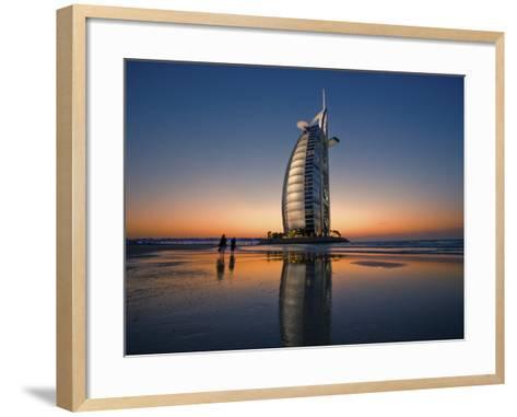 Burj Al Arab Hotel Reflected on Beach at Sunset-Merten Snijders-Framed Art Print