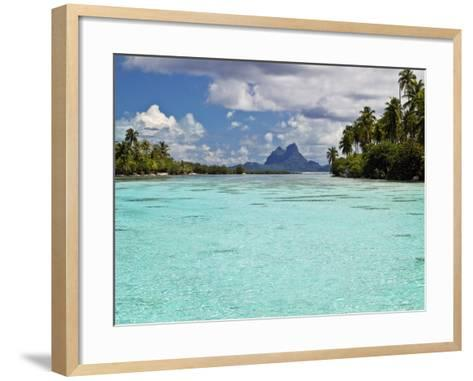 Bora Bora at End of Channel Between Two Motus in Taha'a Lagoon-Emily Riddell-Framed Art Print