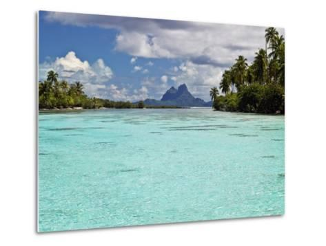 Bora Bora at End of Channel Between Two Motus in Taha'a Lagoon-Emily Riddell-Metal Print
