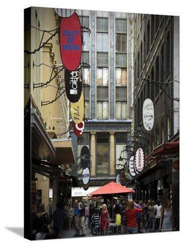 View of Majorca Building and Degraves Street-Glenn Beanland-Stretched Canvas Print