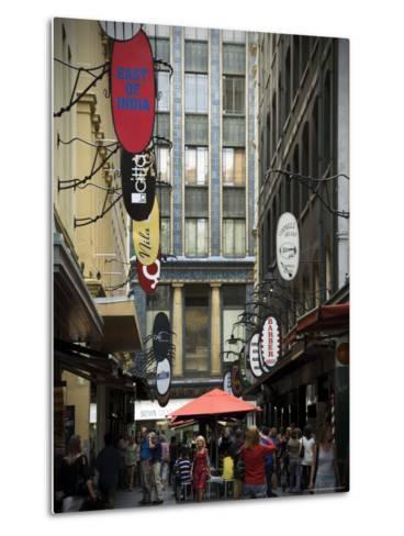 View of Majorca Building and Degraves Street-Glenn Beanland-Metal Print