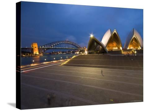 Sydney Opera House and Harbour Bridge at Dusk-Glenn Beanland-Stretched Canvas Print