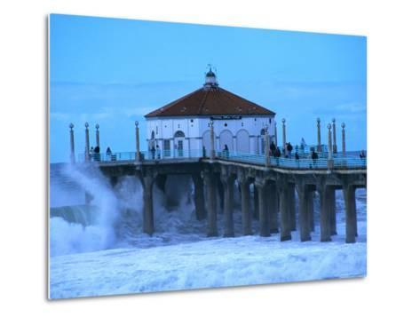 Waves Breaking into the Pier at Manhattan Beach-Christina Lease-Metal Print