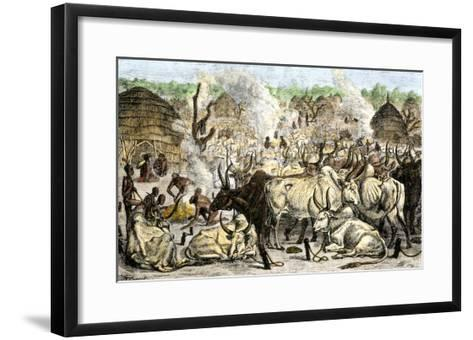 Cattle Farm of the Dinka, a Swahili-Speaking People in Africa, 1800s--Framed Art Print