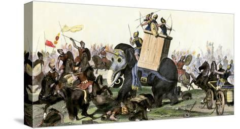 Military Battle Using Armored Elephants and Chariots in the Time of the Roman Empire--Stretched Canvas Print